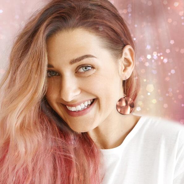 wave mica copper rose gold geometric earrings new next romance jewellery channel ten celebrity handmade in australia