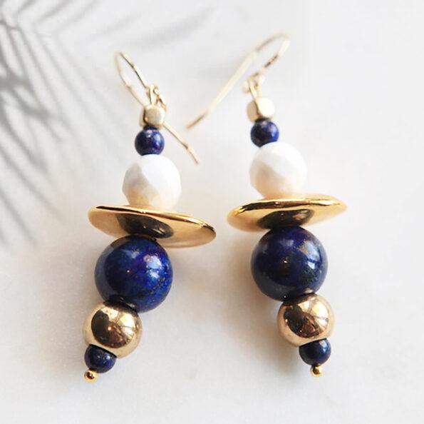 gemstone bar earrings next romance jewellery handmade australia marble howlite lapis gold plated ceramic beads