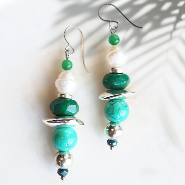 gemstone bar earrings next romance jewellery handmade australia marble howlite emerald silver plated ceramic beads