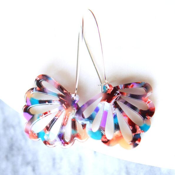 teal butterfly earrings long drop colourful new next romance jewellery australian handmade