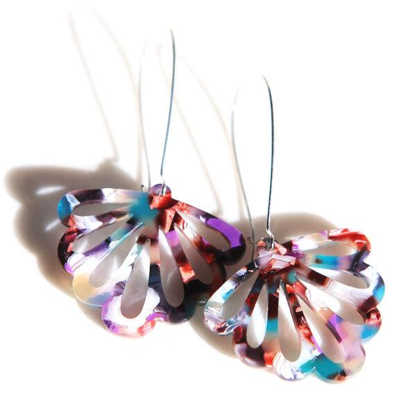 teal purple LONG drop butterfly multi-coloured party earrings next romance jewellery australian maker designer