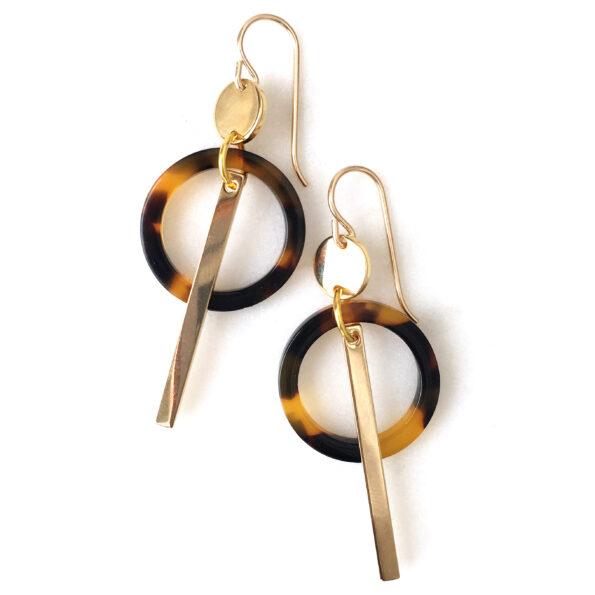 tortiseshell circle and bar earrings NEXT ROMANCE jewellery