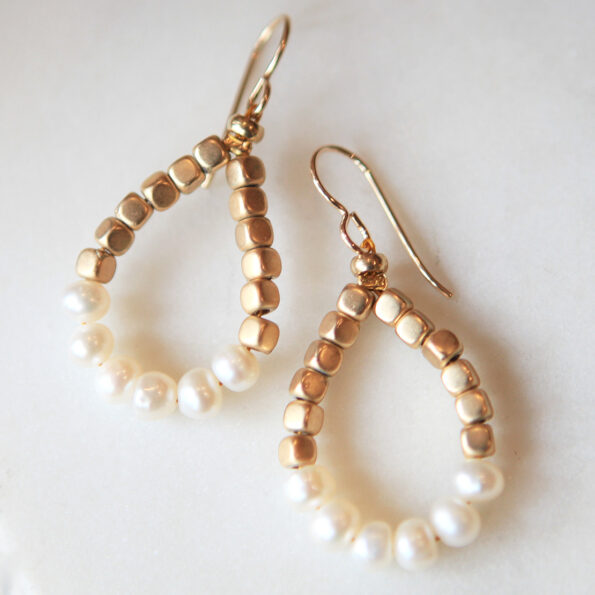 Jude pearl earrings teardrop loop hoop gold bead and mini baroque pearl earrings new next romance jewellery design australia