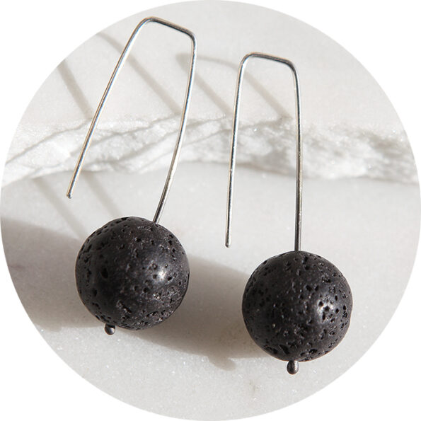 black volcanic sterling silver earrings drop square hooks next romance jewellery