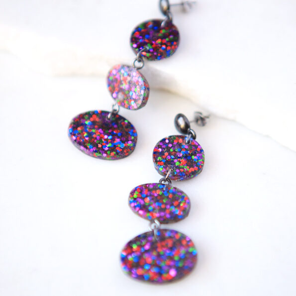 confetti triple drop resin unique earrings new next romance jewellery matt finish