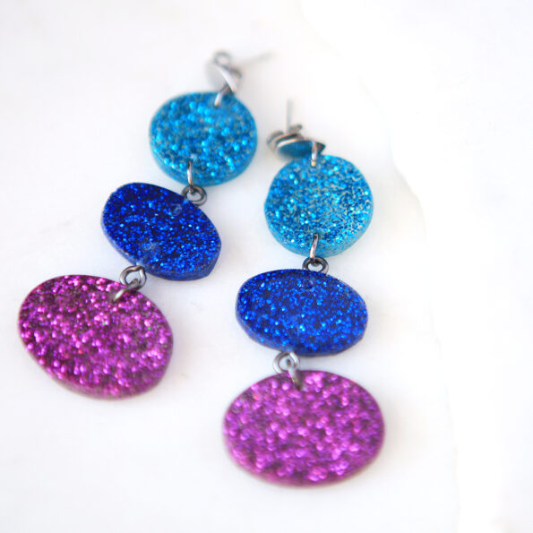 fuschia blues triple drop resin earrings new next romance jewellery matt finish.jpeg