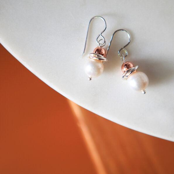 galaxy pearl earrings with rose gold bead next romance jewellery australia