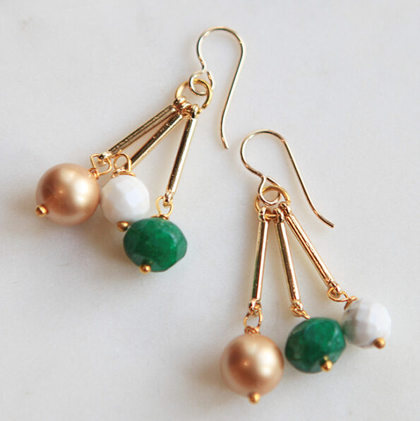 gold pearl emerald light earrings next romance jewellery australia