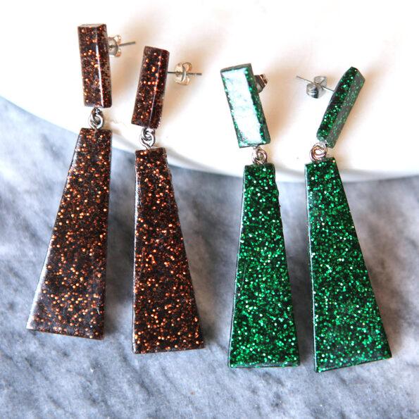 resin handmade dark confetti rhombus earrings next romance jewellery australia