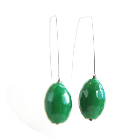 green faceted emerald raw stone on sterling silver n ew next romnce gemstone earrings australia sterling