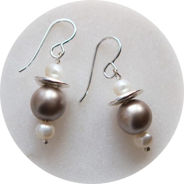 grey pearl mini galaxy earrings silver new next romance unique handmade earrings melbourne australia