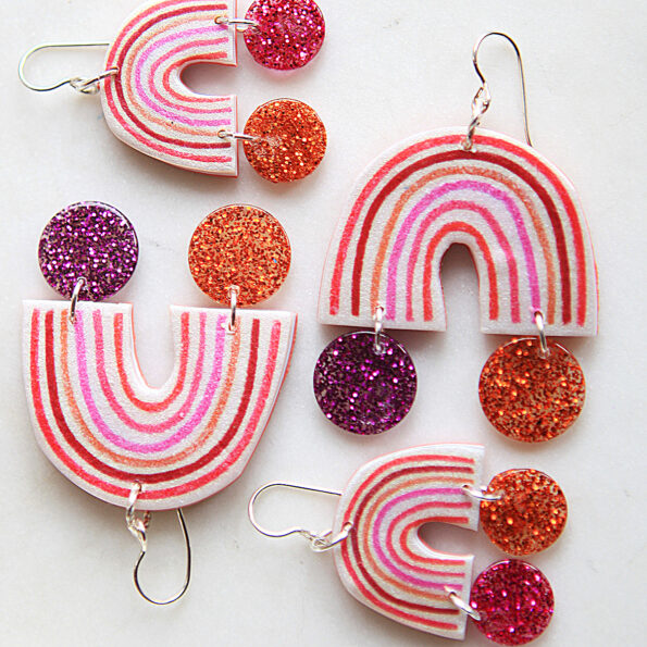 iso rainbow Little Hope earrings with a pot of glitter at the end new next romance jewellery australia