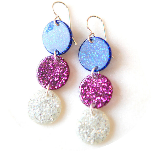 Triple GLITTER COIN earrings silver pink and blue resin unique jewellery australian design