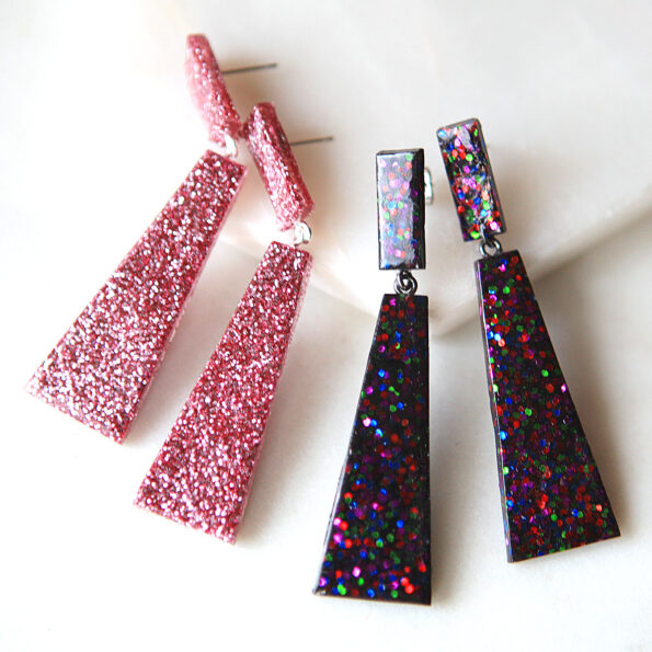 resin handmade dark confetti rhombus earrings next romance jewellery australia