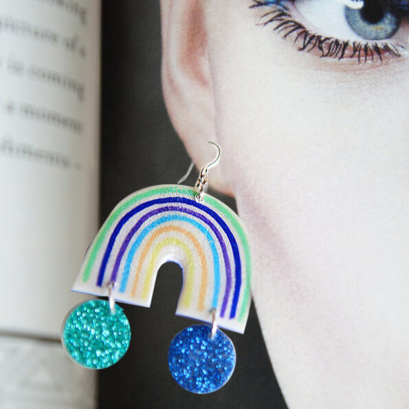 iso rainbow Little Hope earrings BLUES with a pot of glitter at the end new next romance jewellery australia