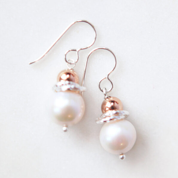 galaxy rose gold synergy pearl earrings beaded handmade in melbourne australia by next romance jewellery