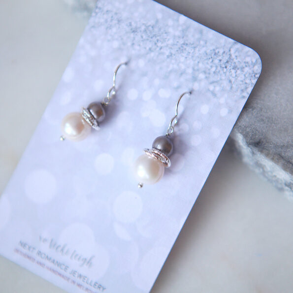rose gold galaxy synergy pearl earrings beaded handmade in melbourne australia by next romance jewellery imperfect