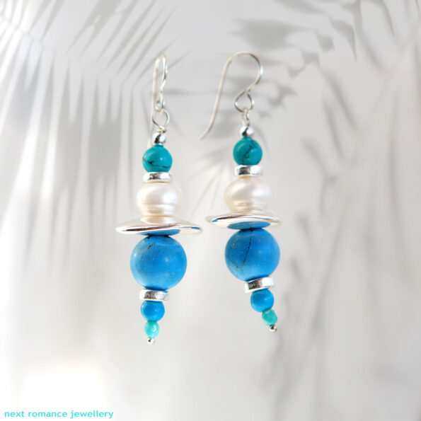 GEMLINE GREEK ISLAND BLUE earrings pearl turquoise boho with silver ceramic handmade beads sterling hooks