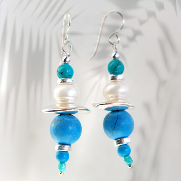 silver blue turquoise earrings gemstone bar boho funky unique design next romance
