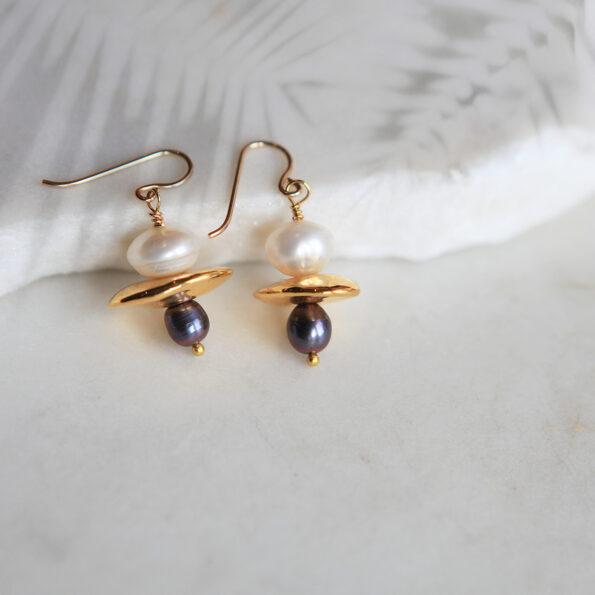 small gold pearl galaxy earrings unique handmade NEW next romance jewellery australia