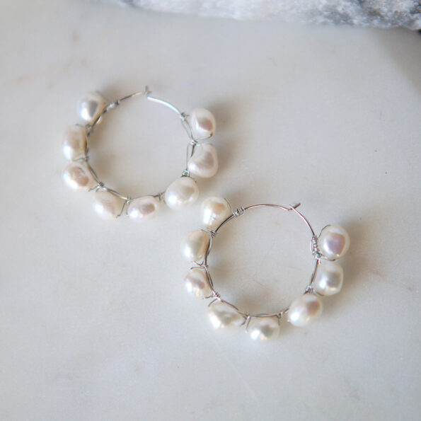stunning hand wired pearl hoop earrings next romance jewellery australian made melbourne based vicki leigh rose street artist market finders keepers markets