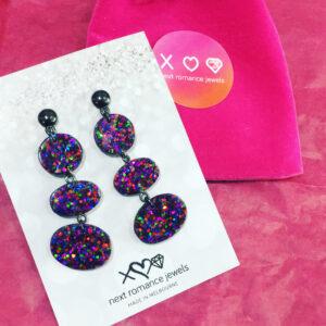 triple resin confetti dangley drop original earrings matt finish new next romance jewellery australia
