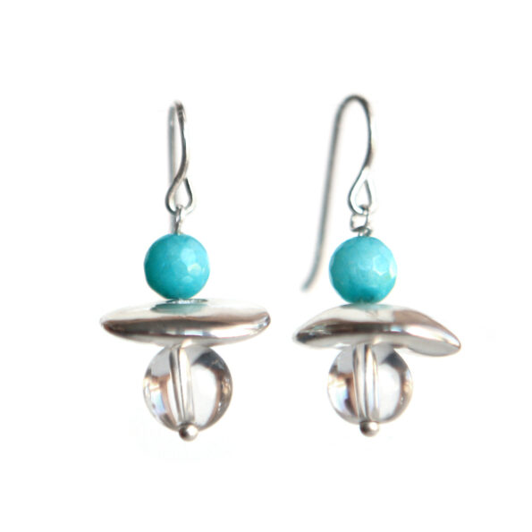 aquamarine ceramic and crystal galaxy earrings handmade by Vicki Leigh Jeweller next romance melbourne designer