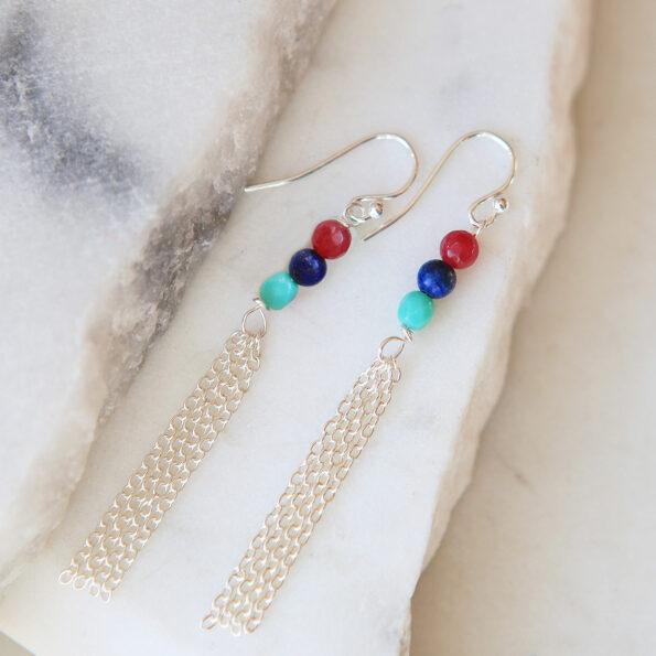 chain tassel gemstone earrings RGB petite silver jewellery wedding bridesmaid next romance