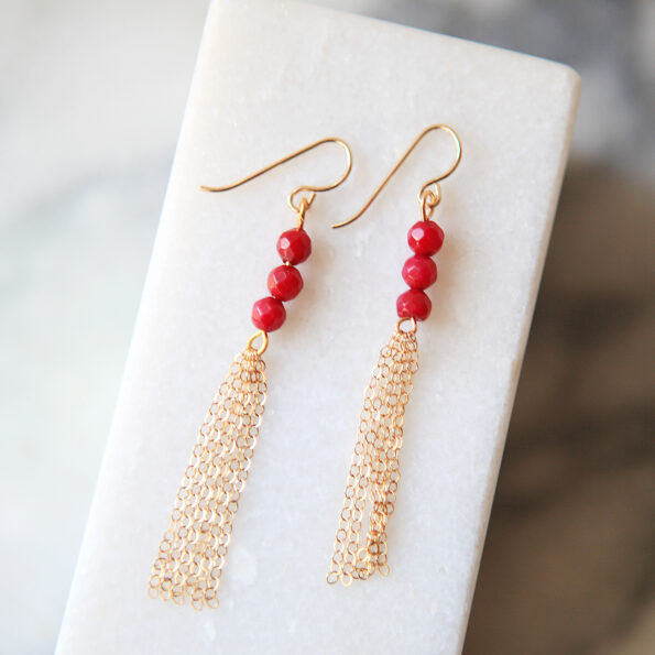 chain tassel gemstone earrings Ruby petite gold jewellery wedding bridesmaid next romance