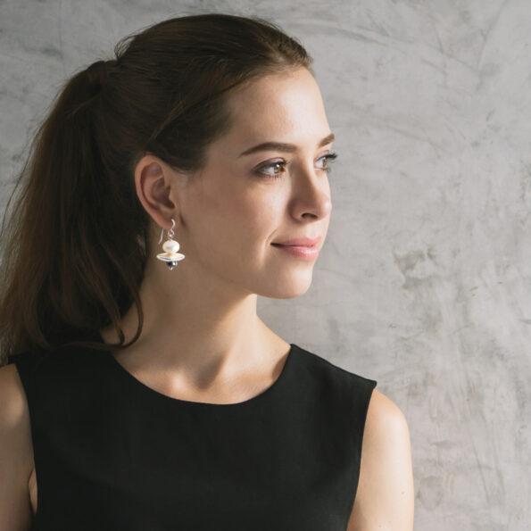 pearl earrings silver GALAXY model image by next romance jewellery australia design celebrity bespoke fashion jewellery