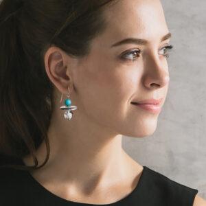 aqua galaxy silver earrings crystal with LEAF bgd NEW next romance jewellery handmade in melbourne australia