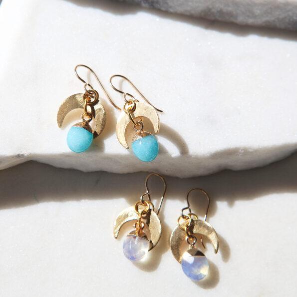 gemstone moon drop earrings by next romance gold moon with rose quartz jade moonstone gems melbourne designer maker local artist jewellery