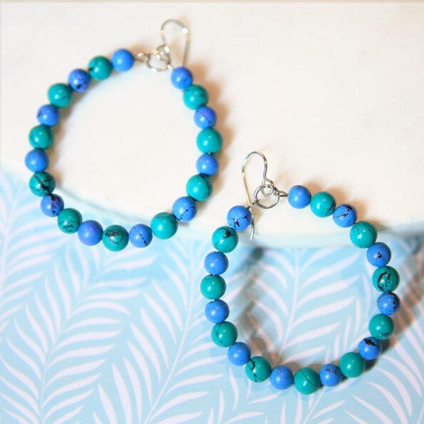green blue indian turquoise hoop earrings NEXT ROMANCE jewellery australian design