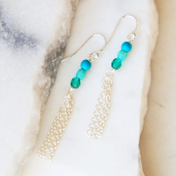 chain tassel gemstone coral earrings petite silver jewellery wedding bridesmaid next romance