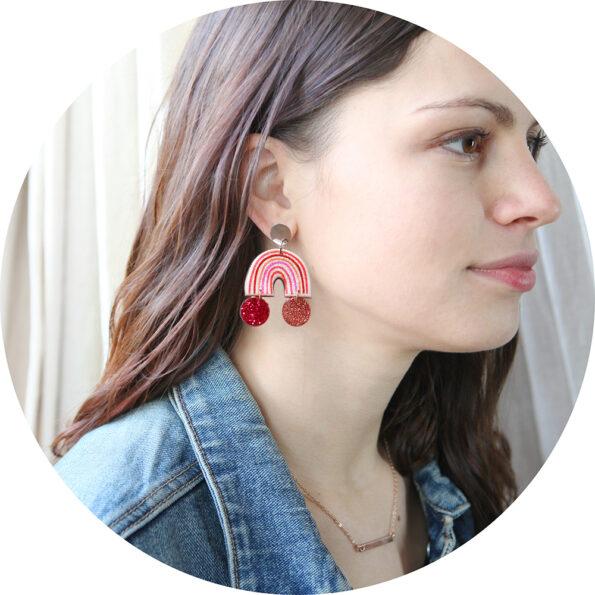 julia model rainbow stud glitter earrings NEXT ROMANCE earring designs melbourne