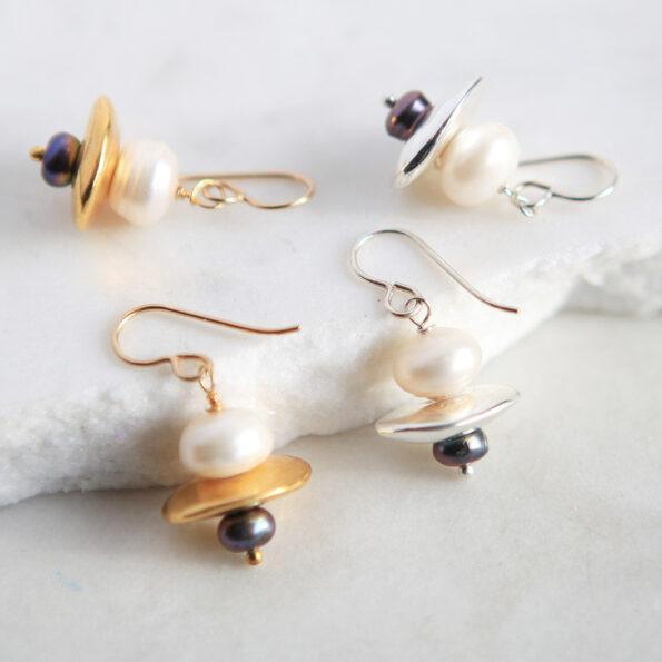 new pearl gold silver small pearl galaxy earrings next romance jewellery australia