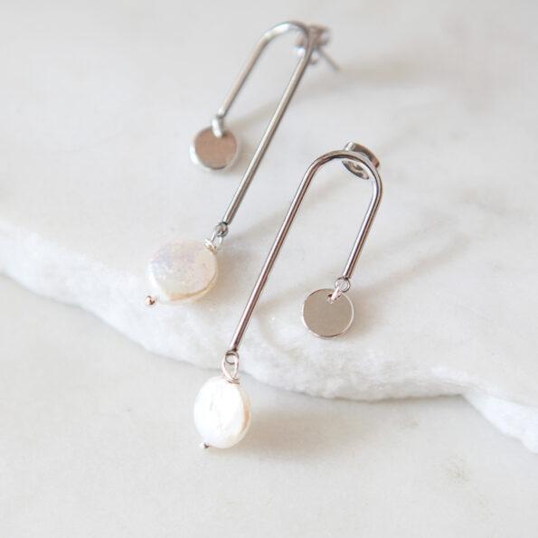 pearl coin arch mobile earrings dangle earrings pearl goddess next romance jewellery australia