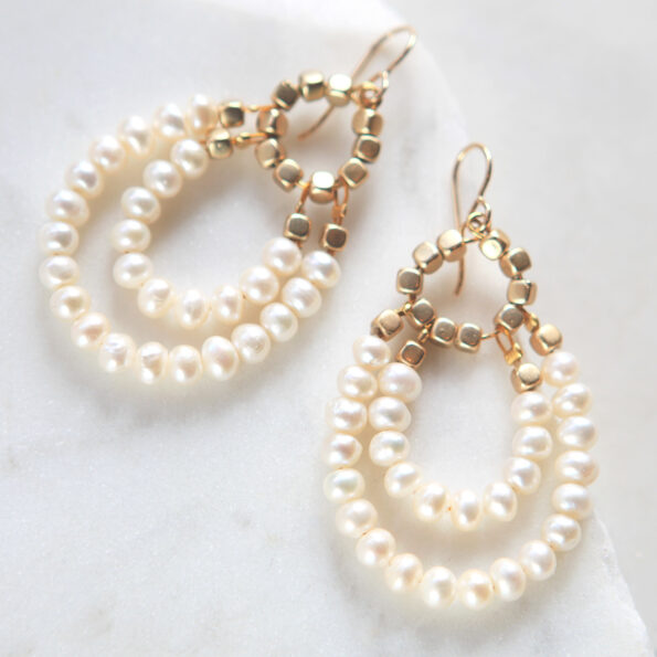 pearl with gold beads double hoop earrings sterling silver and wedding bridesmaid style design next romance jewellery