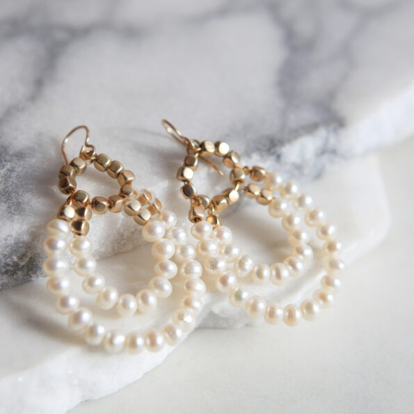 pearl with gold beads double hoop rare earrings and wedding bridesmaid style design next romance jewellery