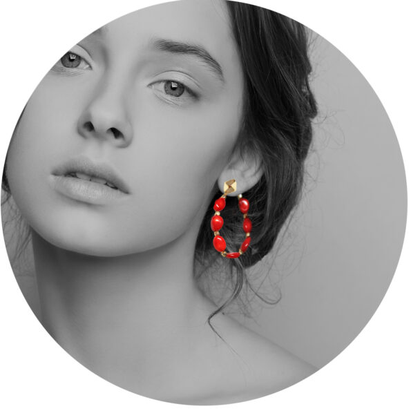 red coral back butterfly attachment hoop new next romance jewellery