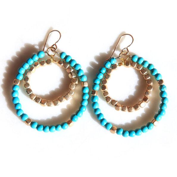 turquoise gold double hoop earrings gold NEXT ROMANCE jewellery australian designs