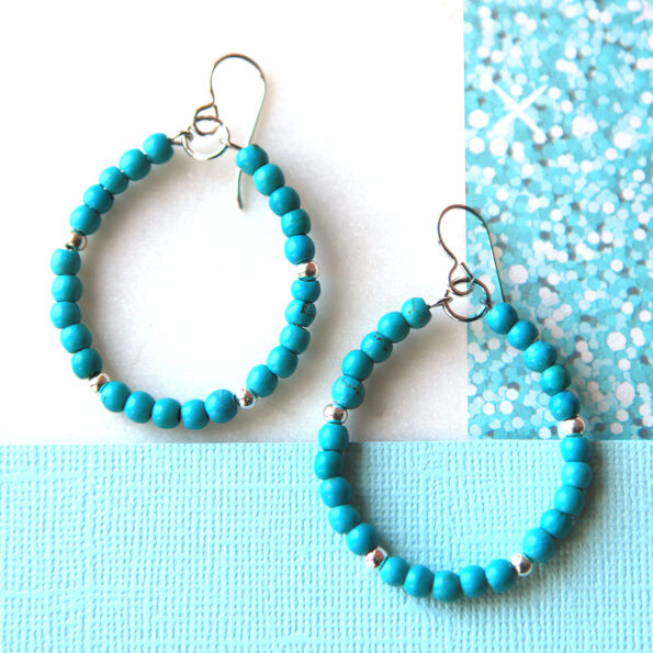 turquoise hoop earrings sterling silver 25 silver dot 5 NEXT ROMANCE jewellery australian designs