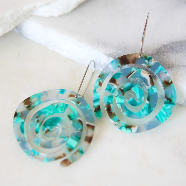 SPIRAL GREEN resin-style earrings new next romance jewellery