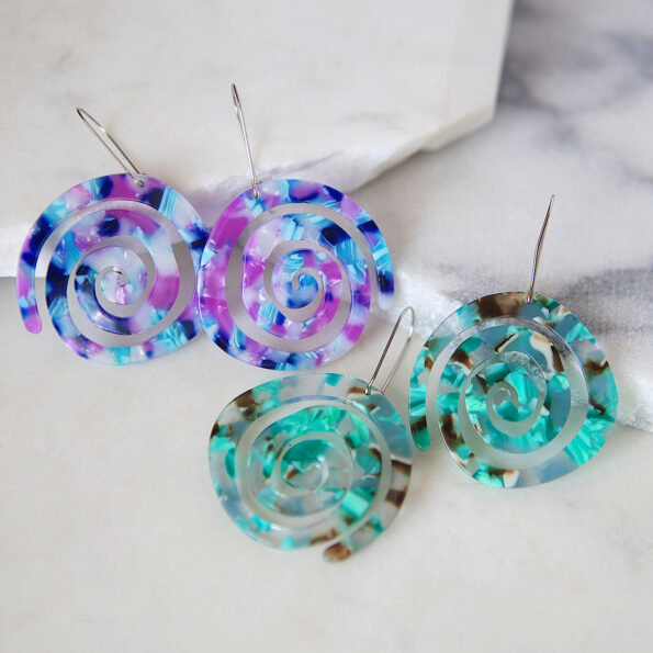 SPIRAL Purple GREEN resin-style earrings new next romance jewellery