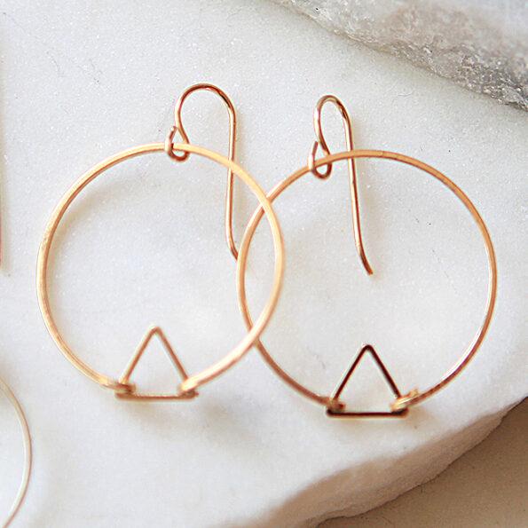 Tension HOOP gold triangle earrings with handmade long sterling hooks new next romance handmade in melbourne jewellery australia simple modern design line
