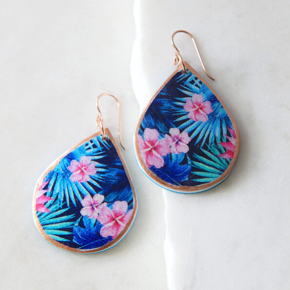 Tropical pink FRANGIPANI illustrated art earrings - NEW Spring next romance queensland tropical holiday gift australia
