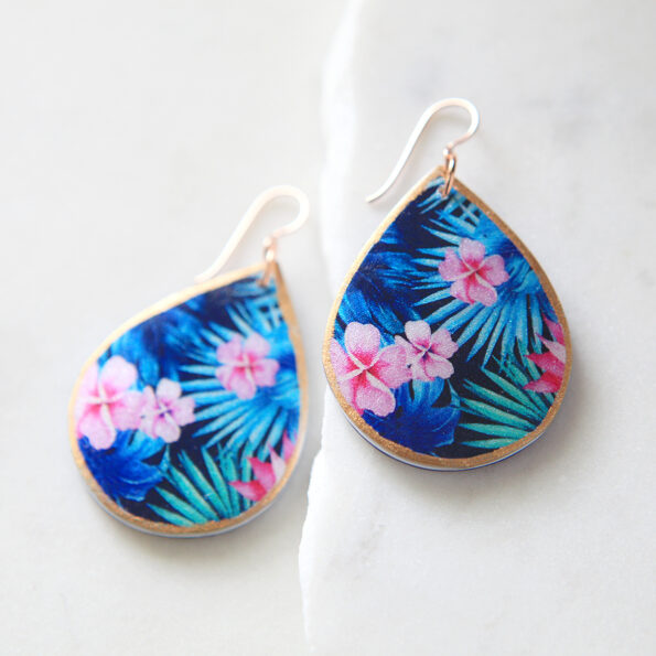 Tropical pink FRANGIPANI illustrated art earrings NEW Spring rose gold NEXT ROMANCE Jewellery made in Australia