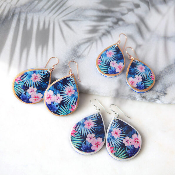 Tropical pink FRANGIPANI rose gold illustrated art earrings NEW Spring Collection NEXT ROMANCE Jewellery made in Australia