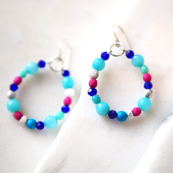 beads hoops with pearl and crystal gemstones handmade by vicki leigh jewellery Next Romance Melbourne australian design