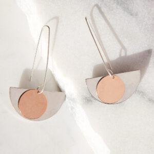 copper rose gold silver moon long hook earrings new next romance jewellery made in australia